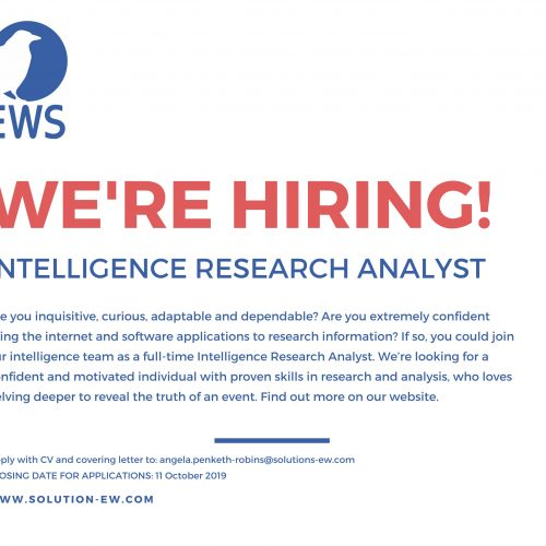 Vacancy - Intelligence Research Analyst