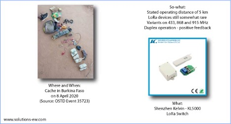 Example of LoRa device recovered in Burkina Faso, April 2020 LoRa photo courtesy © les Forces de Défense et de Sécurité, Burkina Faso. The stock photo of the product next to it is ©Shenzhen Kelvin Electronics Company Limited.
